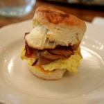 Peels' build a biscuit with eggs, cheddar, and bacon